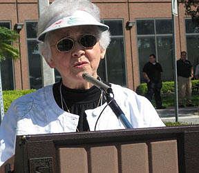 Olgha Sierra Sandman speaking at a NFWM rally outside Burger King headquarters in 2008