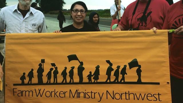 John Nichols (FWM-NW) and Gabi Rios (YAYA) and friends supporting farm workers.